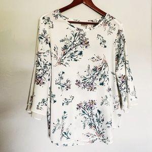Van Heusen Flutter Sleeve Floral Blouse